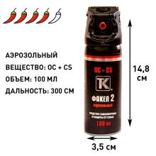 Аэрозольный газовый (перцовый) баллончик Факел-2, 100 мл